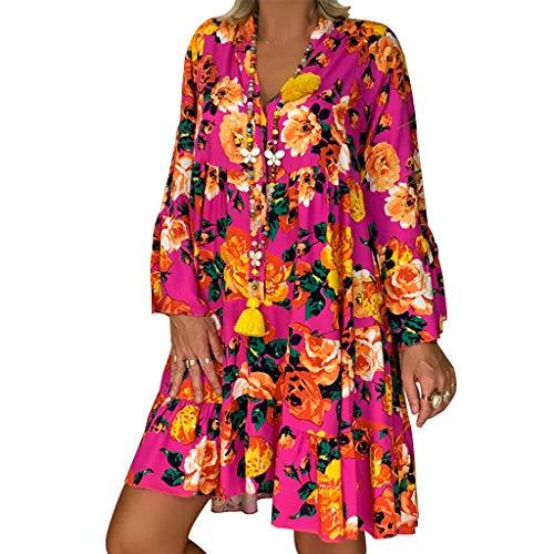 Vestidos Mujer Verano 2019 Nuevo SHOBDW Cuello en V Llamarada Manga Larga Elegant Vestidos Playa Boho Floral Mini Vestidos Vintage Fiesta Vestidos Mujer Cortos Talla Grande(Rosa,5XL)