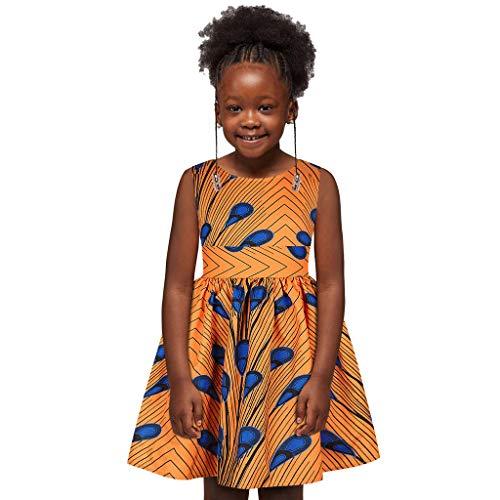 YWLINK Vestido De Fiesta NiñA Vestido Sin Mangas éTnico Africano Impreso Verano Digital 3D Falda Casual Suelta CóModa Vestido De Princesa Fiesta De Carnaval Regalo De CumpleañOs(A-Naranja,7-8 años)