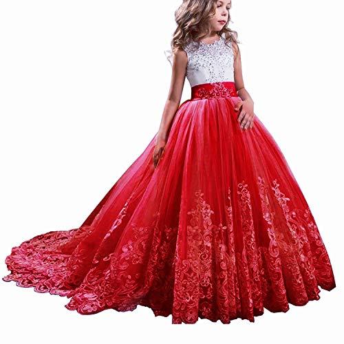 TTYAOVO Vestido de Novia Princesa de Encaje hasta el Suelo para Niñas Vestidos de Tul Talla130 (6-7 Years) 406 Rojo