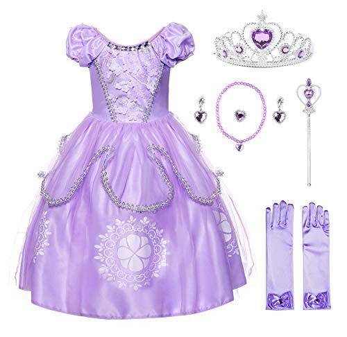 JerrisApparel Niña Disfraz de Princesa Sofía Tul Cumpleaños Partido Vestido (5 años, Lila con Accesorios)