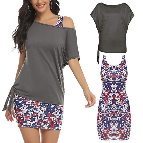 Hawiton Vestido Lápiz para Mujer 2 en 1 Casual Fuera del Hombro Camisetas con Retro Estampado Vestido Mini Playa