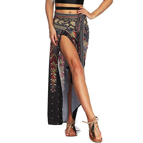 Nuofengkudu Mujer Falda Larga Hippie Gitana Amarra la Cintura Alta Boho Patrón De Estilo Tailandés Faldas de Playa Fiesta Casual Skirts Negro Pavo
