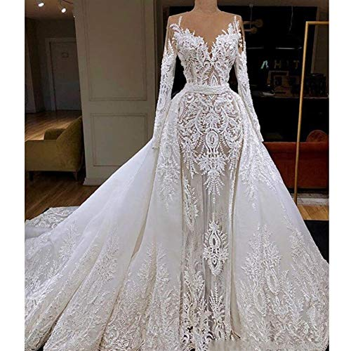 QING XIN-1225 Wedding Dress,Prom Dresses Vestido de Novia Vestido de Novia de Manga Larga Sirena con Desmontable Tren Dubai cordón de la Envoltura Apliques Evening Dresses