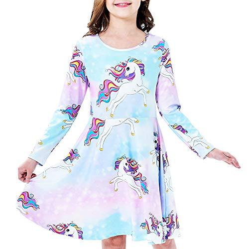 Vestido para niña Unicornio Arco Iris Casual Manga Larga 6 años