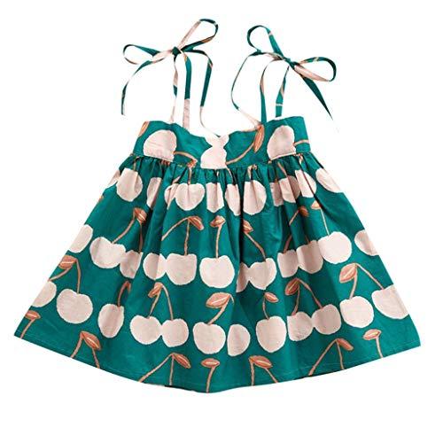 YWLINK Verano Mezcla De Algodon Verde Camisola Lichi Estampado Infantil Ropa NiñAs Vestido Princesa Vestido Refrescante Vacaciones En La Playa Fiesta Dulce Y Encantadora