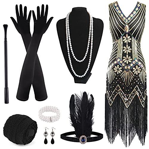 FEPITO Vestido con flecos y lentejuelas con cuello en V de los años 20 y accesorios de los años 20 (black and gold(style 2), Medium)