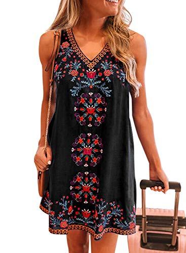 CORAFRITZ Falda casual de cuello en V para mujer, bohemio, mexicano, campesino, vintage, bordado, impresión, mini vestido de playa para verano