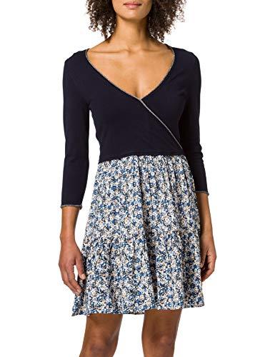 Springfield Vestido Punto Bimateria Suéter, Azul Claro, M para Mujer