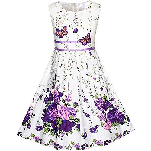 Vestido para niña Morado Mariposa Flor Sol Fiesta 11-12 años
