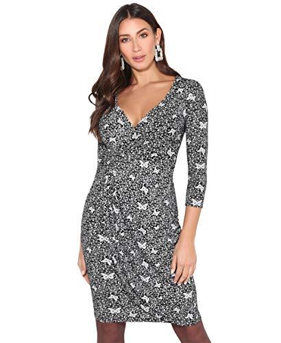 KRISP Vestido Mujer Ajustado Fiesta Invitada Boda Outlet Corto Colores Tallas Grandes Noche Elegante Cóctel, (Negro/Blanco (4273), 36 EU (08 UK)), 4273-BLKWHT-08