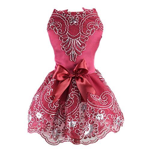 DELIFUR Vestido de Novia de Encaje para Perro, Falda tutú, Vestido de Princesa Floral para Cachorro, Gato, Disfraz de Fiesta de cumpleaños para Mascotas para Primavera y Verano (Rojo, M)