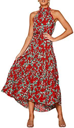 Longwu Vestido Largo Estampado Floral sin Mangas con Cuello Halter sin Mangas para Mujer Vestido Largo Plisado con cinturón Rojo-XL