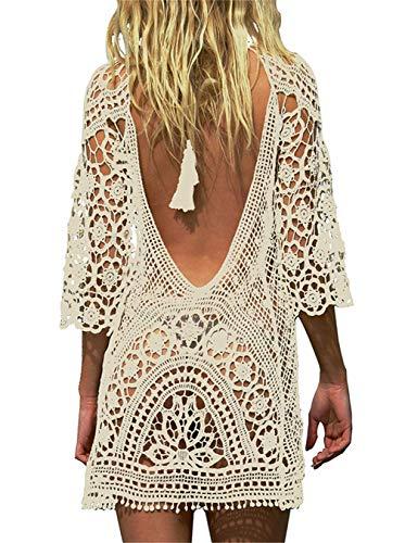 Kfnire Traje de baño de Las Mujeres Bikini Traje de baño Vestido de Playa Crochet (D- Beige)