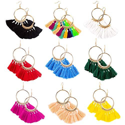 Pendientes de Borlas, Bohemian Big Circle Hook Earrings, Pendientes de Flecos en Forma de Abanico, Pendientes de Bohemia Exagerados para Mujer Chicas Accesorios de Vestido Bohemio de Fiesta(9 pares)