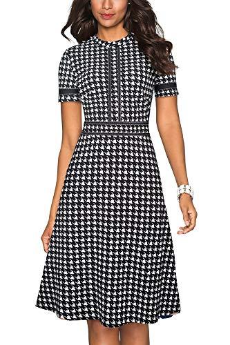 HOMEYEE A135 - Vestido vintage para mujer, cuello redondo, manga 3/4, estilo de retazos, acampanado, vestido de cocktail