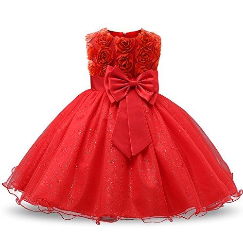 NNJXD Vestido de Fiesta de Princesa con Encaje de Flor de 3D sin Mangas para Niñas Talla(140) 5-6 años Rojo