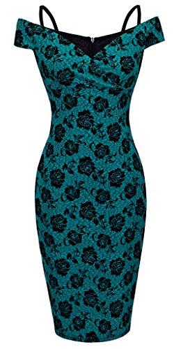 HOMEYEE – Vestido ceñido de mujer con estampado floral vintage, con tirantes, hombros descubiertos, largo hasta la rodilla, B309 Verde verde S