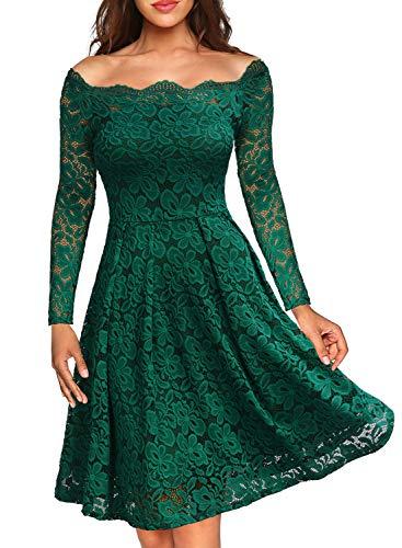 Miusol Vintage Encaje Floral Coctel Vestido Corta para Mujer Verde X-Small