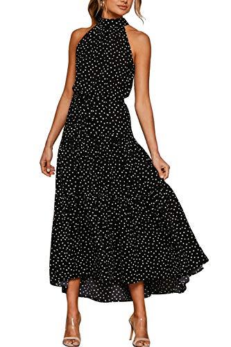 Vestido Mujer Bohemio Largo Verano Playa Fiesta Floral/Polka Dot Maxi Vestidos Cóctel Falda Larga con Cinturón Tienda Online De XL