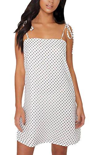 Vestidos Verano Mujer Cortas Elegante Tirantes Sin Tirantes Espalda Abierta Vestido Playa Jovenes Fashionista Casuales Señora Moda Fiesta Lunares Mini Dress Blanco (Color : Blanco, Size : L)