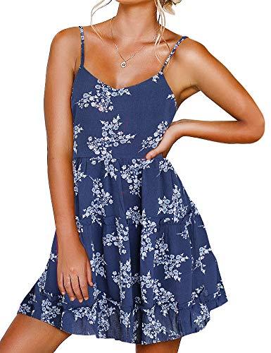 FANCYINN Vestidos con Tirantes Finos y Cuello en V para Mujer sin Espalda sin Mangas Vestido Floral con Volantes Vestido Informal Holgado Estampado Floral Blanco Azul Marino S