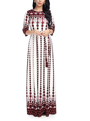 VONDA - Vestido largo con cuello redondo y estampado bohemio para mujer