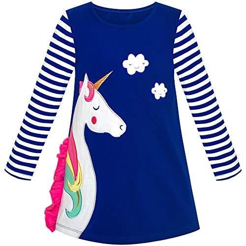 Vestido para niña Algodón Manga Larga Unicornio Bordado Azul Marino 6 años