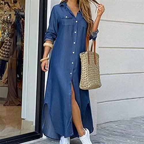 Vestido de camisa de manga larga para mujer Otoño Impreso Vestidos largos Cuello de rechazo suelto Sundress Vestidos de fiesta (Color : Denim blue, Size : X-Large)
