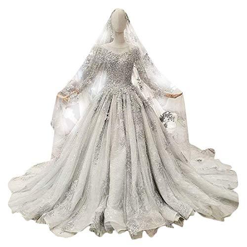 Elegant Dress con Cuello en V Nupcial de la Boda de Gasa de Tul de Lentejuelas de Manga Larga Vestido de Boda del Partido del Banquete para la Novia, 16w, US Size