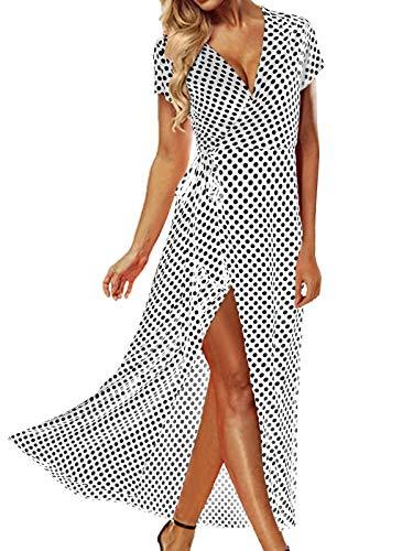 ACHIOOWA Mujer Vestido Elegante Casual Playa Bohemio Dress Lunares Cuello V Manga Corta Escote Fiesta Cóctel Falda Larga Blanco XL