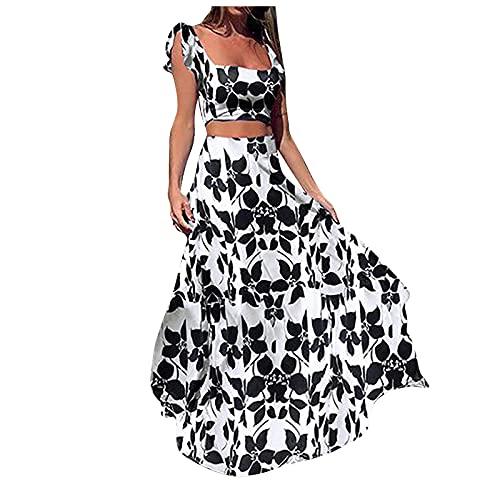 YWLINK Conjunto De Vestidos Verano Mujer De 2 Piezas Elegantes Estampado Top Corto Chaleco V-Cuello Y Falda Larga Moderno Originales Regalo Tallas Grandes Casual Vestidos De Fiesta Vestido De Playa