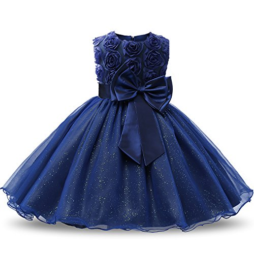 NNJXD Vestido de Fiesta de Princesa con Encaje de Flor de 3D sin Mangas para Niñas Talla(160) 7-8 años Azul Oscuro