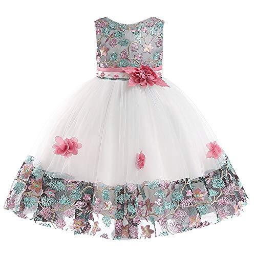 K-youth Vestidos De Fiesta para Niñas Elegantes Vestidos para Niñas Bebes Ropa Niña Tutú Princesa Bordado Flor Encaje Vestido de Niña Barata En Oferta Moda Vestido Bebe Niña Bautizo(Rosa, 1-2 años)