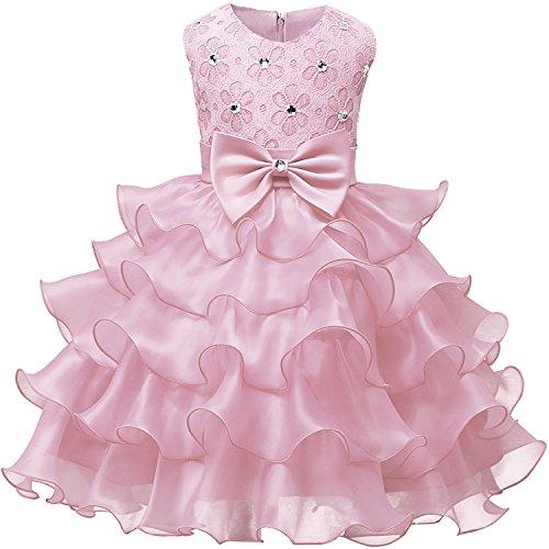 NNJXD Falda de Chicas con Volante de Encaje Vestidos de Boda y Fiesta Talla (100) 2-3 Años Rosa