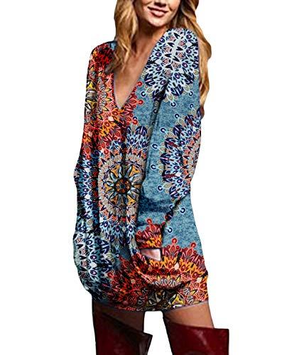 ZANZEA Vestidos Sudadera Mujer Impresión Cuello V Manga Larga Otoño Jerseys de Punto Largos Casual Tallas Grandes Suéter Suelta Floral 1 XL
