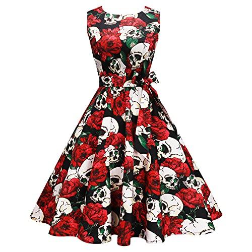 Enmain Vestido Vintage Mujer Cóctel 1950 Sin Mangas Vestido de Retro Rockabilly Audrey Fiesta Boda Bola Mujeres Elegante Vestidos con Cinturón y Bolsillos Rosa Rojo XXL