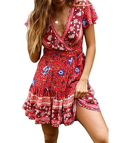 Abravo Mujer Vestido?Bohemio Corto Florales Nacional Verano Vestido Casual Magas Cortas Chic de Noche Playa Vacaciones,Rojo y Azul,S