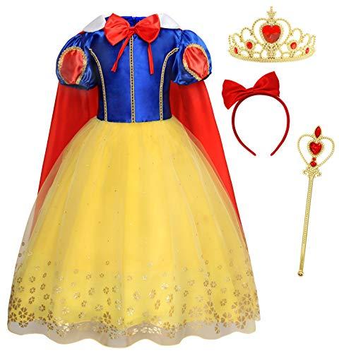 AmzBarley Disfraz Vestido Princesa Blancanieves Niña Tutu Ceremonia,Traje Niña,Disfraz Infantil Fiesta Carnaval Cosplay Halloween con Accesorios, 3-4 Años