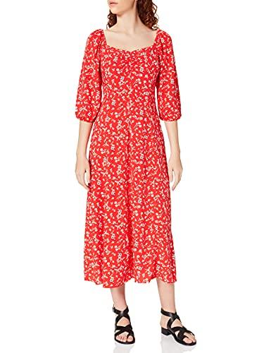 Springfield Vestido Midi Rojo Flor, Granate, 38 para Mujer