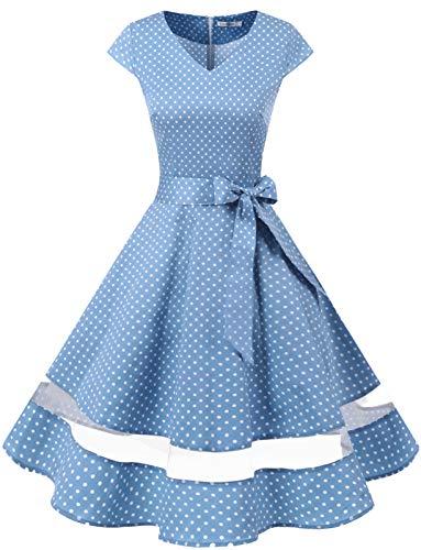 Gardenwed Vintage Vestidos Coctel Corto 50s Vestido de la Fiesta para Mujer Blue Small White Dot XL