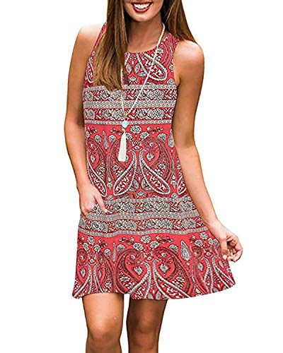 Abravo Mujer Vestido Estampado Floral sin Mangas Vestido Casual Corto Playa con un Bolsillo (L, Rojo-2)