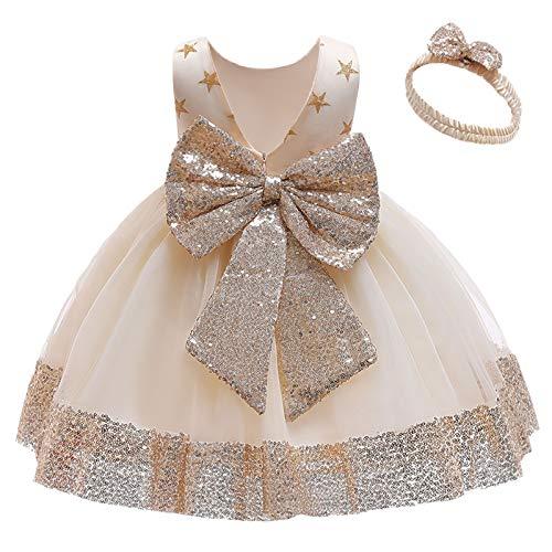 FYMNSI Vestido de niña pequeña o bebé para fiesta de cumpleaños o bautizo, con lazo, flores, encaje, diadema y tutú de tul, para bodas, niña paje, estilo princesa 2# Champán. 4-5 Años