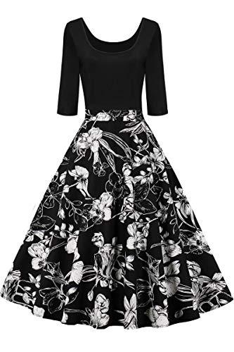 AXOE Vestido de mujer de línea A, vestido de los años 60, Rockabilly con mangas de 3/4. F14. XXL