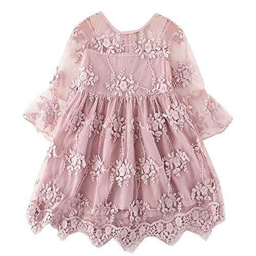 TTYAOVO Vestido de Fiesta de Princesa de Encaje para Niñas Vestido de Novia de Niña de Las Flores Tamaño(110) 3-4 Años 423 Rosa