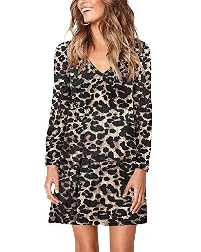 AUSELILY Vestido Mujer de Túnica de Manga Larga Cuello En V Mini Camiseta Holgada Informal Volante Vestidos Acampanados Leopardo con Lunares L