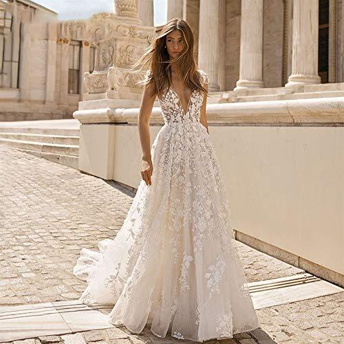 HIN GU - Wedding dress Vestido de novia Sexy escote en V profundo Párrafo corto Playa Costura Volver Boda romántica Apliques Halter Boho Vestido de novia (Color : Champagne, US Size : 18W)