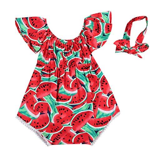 Conjunto de 2 piezas de verano para niña de bebé con impresión de vestido, manga y volantes cortos + banda con lazo de 0 – 3 años, rojo, 6-12 meses