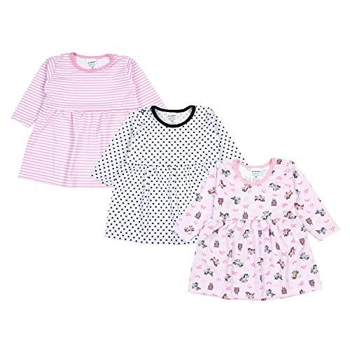TupTam Bebé Vestidos Manga Larga para Niñas,Paquete de 3, Mix de Colores 4, 68