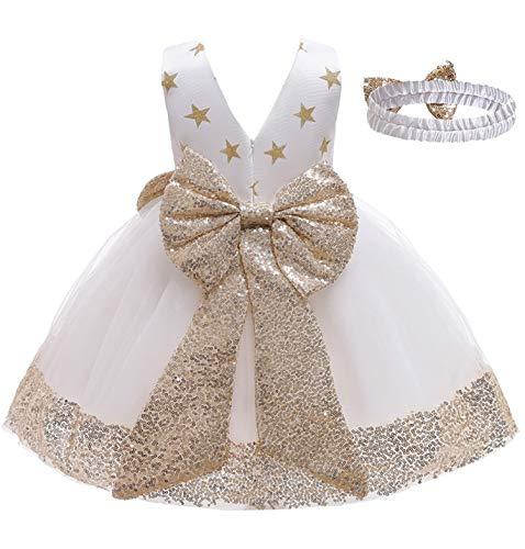 Vestido para niña de princesa, vestido elegante, sin mangas, con lentejuelas, encaje, vestido para fiestas, ceremonias, cumpleaños, 2 – 10 años A-blanco. 3-4 Años