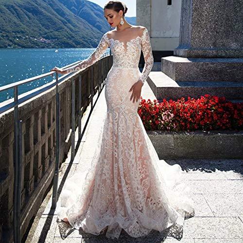 SWEETQT Vestido de Novia Vestido de Casamento Vestido de Novia de Sirena de Lujo Vestido de Manga Larga Sexy Vestido de Noiva Sereia Vestido de Noche con Espalda Transparente